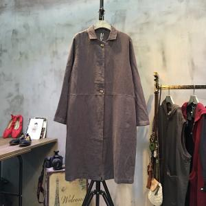 Forest Girl Lapel Linen Coat Plus Size Korean Outerwear For Woman