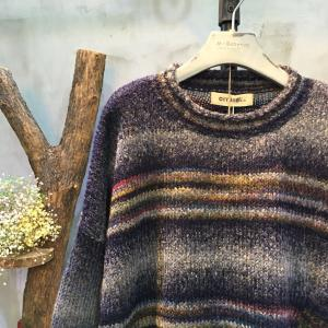 Japan Style Front Pocket Stripes Sweater Womans Wool Sweater