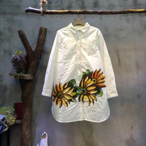 Girlish Coreopsis Printing Quilted Blouse Loose Nice Shirt