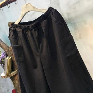 Solid Color Elastic Waist Wide-Leg Pants Black Trousers For Woman