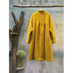 2016 Latest Stand Collar Front Buttons Woolen Coat Plus Size Winter Coat