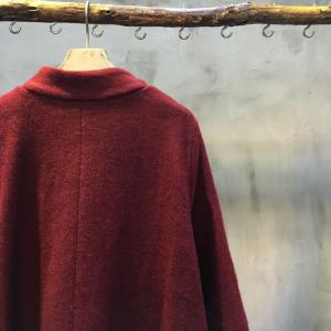 Beautiful Asymmetrical Hem Plus Size Coat Woolen Wine Red Coat