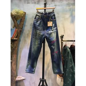 Street Fashion Letter Print Jeans Napping Baggy Jeans For Woman