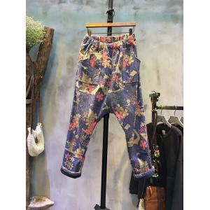 Retro Style Flower Print Harem Pants Napping Baggy Pants For Woman