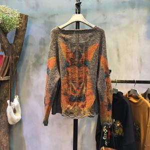 Low-Cost Cartoon Rabbit Print Sweater Knitting Ripped Top