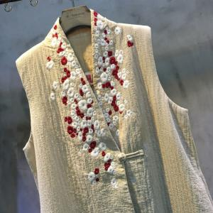Beautiful Floral Embroidery Long Linen Elegant Vest Quilted Custom Waistcoat