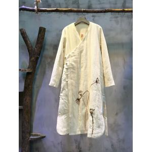 Best-Selling Pankou Nice Embroidery Quilted Coat Loose Linen Overcoat