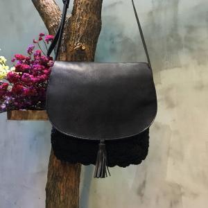 High Quality Tassel Decoration Genuine Leather Bag Knit Bag