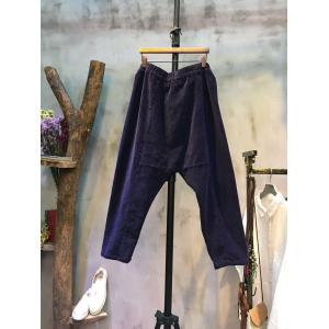 Japan Style Front Big Pocket Corduroy Pants Elastic Baggy Pants For Woman