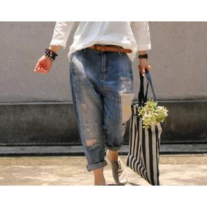 High Quality Baggy Ripped Jeans Patchwork Cuffed Jeans For Woman