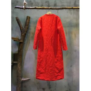 Beautiful Flower Embroidery Cotton Linen Loose Coat  Plus Size Chinese Overcoat