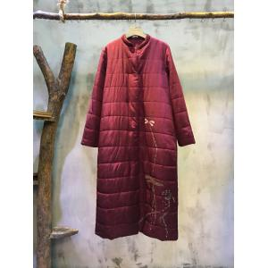Chinese Style Lotus Print Cotton-Padding Clothes Loose Quilted Overcoat