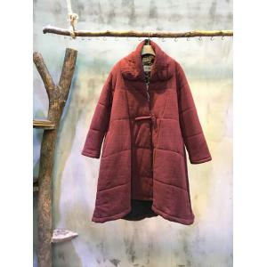 Chinese Style Floral Lining Pankou Loose Quilted Coat Wine Red Coat