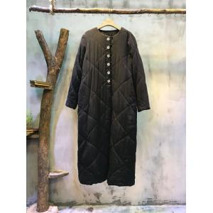 Solid Color Single-Breasted Embroidery Button Cupro Coat Long Down Coat