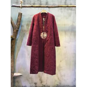 V-neck Nice Embroidery Cotton Linen Chinese Coat Loose Long Vintage Coat