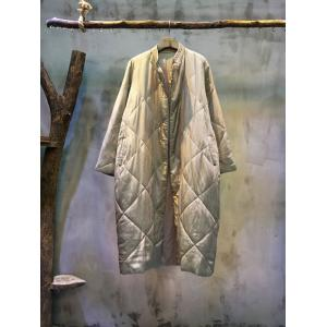Big Rhombus Embossing Loose Cotton Coat Vintage Long Cupro Coat