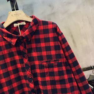 Preppy Style Lapel Loose Cotton Linen Shirt Long Plaid Blouse