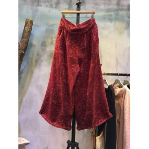 Ladylike Solid Color Loose Linen Pants Jacquard Beautiful Wide-Legs Pants
