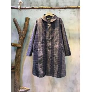 Chinese Style Vertical Stripes Loose Quilted Coat Womans Vintage Coat
