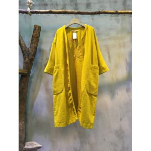 New Arrival Back Embroidery Loose Cardigan Big Pockets Yellow Cardigan