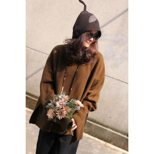 Mori Girl Leather Leaf Matching Cotton Linen Hat Knit Hat