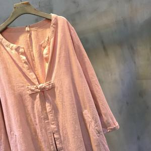 Solid Color Chinese Button Loose Cotton Linen Coat Pink Cardigan