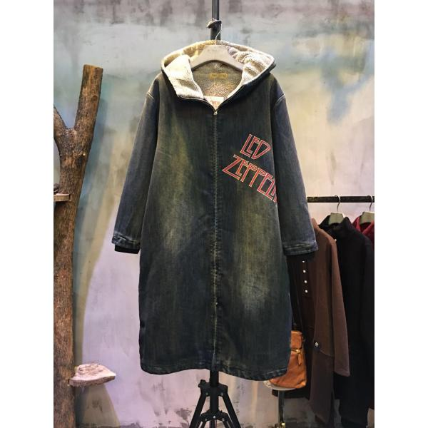 Front Zip Letter Print Denim Coat Back Print Korean Hooded Coat