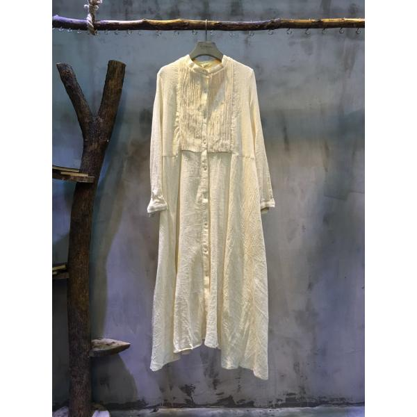 Mori Girl Loose Cotton Linen Dress Vintage Beige Spring Dress