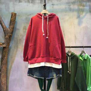 Double Layers Plain Cotton Hoodie  Thickening Korean Hoodie