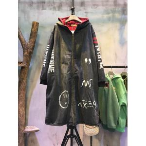 New Arrival Doodle Print Fashion Denim Coat Korean Hooded Black Overcoat