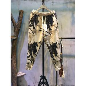 Artistic Print Pulling Ropes Baggy Pants Womans Fashion Trousers