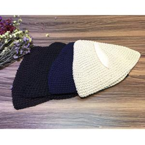 Chunky Knit Leather Matching Cuffed Hat Womans Beanie Hat