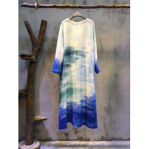 Spring 2017 Chinese Ink Painting Plus Size Dress Retro Cotton Linen Dress