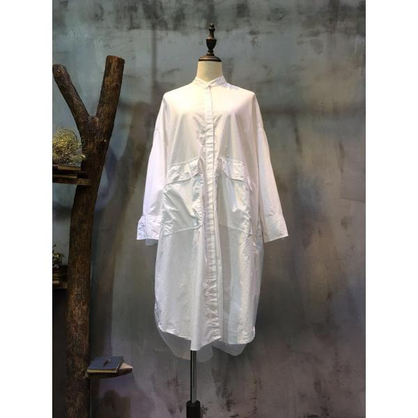 BF Style Flap Pockets Loose-Fitting White Blouse Plain Linen Shirt Dress