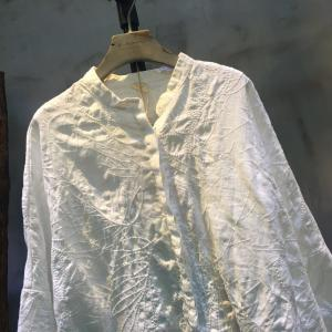 Solid Color Flowers Embroidery Spring White Blouse Loose Linen Clothing