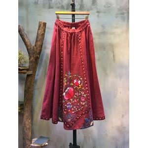 Folk Style Ethnic Embroidery Loose Skirt  Natural Linen Red Maxi Skirt