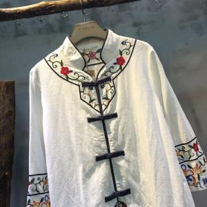 Stand Collar Folk Embroidery Chinese Cardigan Vintage Loose White Cheongsam