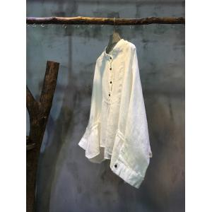 New Arrival Bat Sleeve White Blouse Womans Natural Flax Clothing
