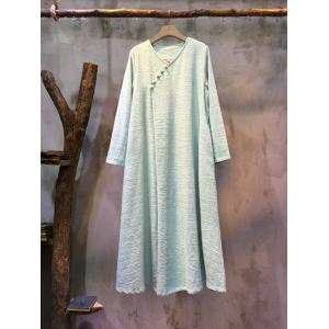 High-End Chinese Buttons  Plus Size Linen Dress Elegant Shift Dress