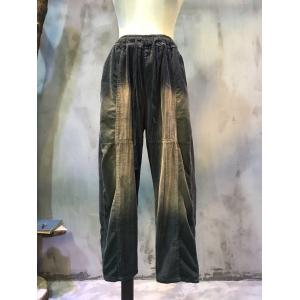 Trendy Loose-Fitting Womans Corduroy Pants Color Faded Trousers