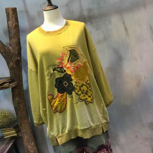Big Flower Embroidery Gradient Casual T-shirt Loose Cotton Applique Hoodie