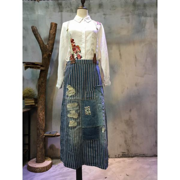 Vertical Stripes Floral Patchwork Denim Skirt Fashion Ripped Suspender Skirt