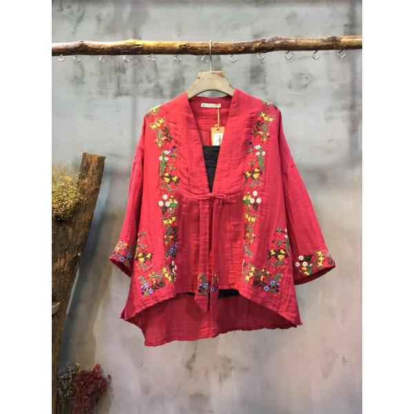 Vintage Style Floral Embroidery Chinese Cardigan Elderly Womans Short Outerwear