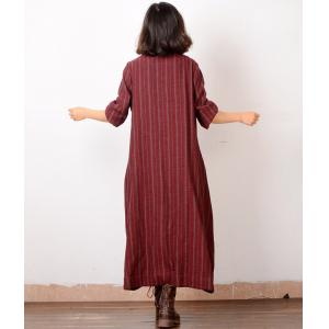V-Neck Chinese Buttons Asymmetrical Cardigan Stripes Linen Vintage Coat