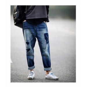 Fashion Patchwork Womans Ripped Jeans Korean Baggy Jeans