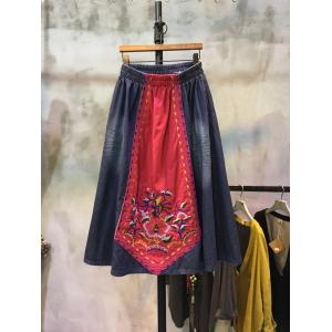 Color Matching Ethnic Embroidery Denim Skirt Patchwork A-line Skirt