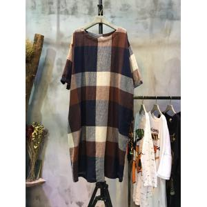 Mori Girl Plus Size Plaid Dress Cotton Linen Wholesale Dress