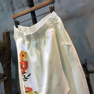 Elastic Waist Flower Print Pants Womans Cotton Cheap Pants