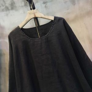 Individual Raw Hem Double Layered Blouse Wholesale Plain Flax Clothing