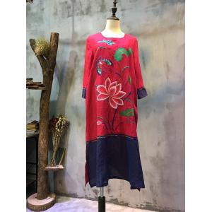 Chinese Lotus Embroidery Red Dress Color Matching Vintage Dress
